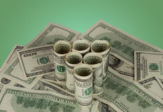 Triangle of dollars. To the background notes Stock Photos