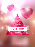 Triangle emblem in hipster style with mustache and. Vector illustration. Blurred background with lights. Valentine's day abstract background. Invitation or Stock Photo