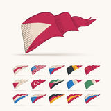 Triangle flag collection. Royalty Free Stock Photography