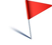 Triangle flag pin. Royalty Free Stock Photography