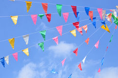 Triangle flags on the ropes Stock Photo