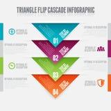 Triangle Flip Cascade. Vector illustration of triangle flip cascade infographic design elements Royalty Free Stock Photos