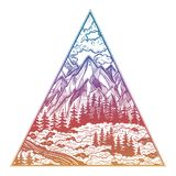 Triangle frame with landscape forest and mountains. royalty free illustration