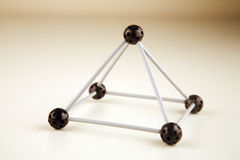 Triangle framework. With balls and sticks stock image