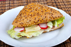 Triangle fresh sandwich Stock Image