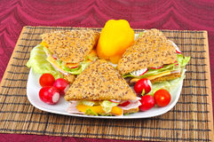 Triangle fresh sandwiches Stock Photo