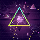 Triangle futuristic Background. Triangle Pyramid futuristic Retro 80's Style Background,  illustration cartoon Stock Photo
