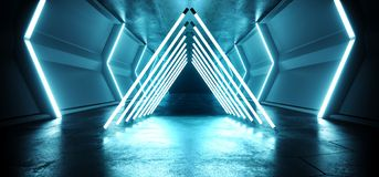 Triangle Futuristic Sci FI Alien Spaceship Neon Laser Led Blue Glowing Tunnel Metal Reflection Grunge Concrete Floor Wet Gate. Virtual Reality Fluorescent royalty free illustration