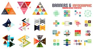Triangle geometric infographic templates set Royalty Free Stock Image