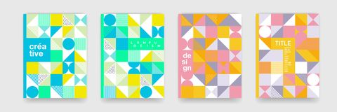 Triangle geometric pattern b ackground texture for poster cover design. Minimal flat color vector banner template with circles, sq. Uare royalty free illustration