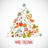 Triangle geometric shape vector with christmass drawing elements Stock Image
