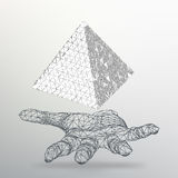 Triangle geometrical background. Abstract 3d chaotic pyramid on the arm. Vector Illustration EPS10. Stock Photo
