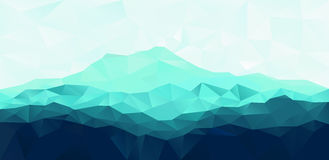Triangle geometrical background with blue mountain Stock Photography