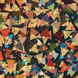Triangle golden glitter crazy seamless pattern Royalty Free Stock Images