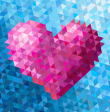 Triangle heart. Pink geometric heart on a triangle blue background Stock Images