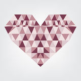 Triangle heart shape abstract design. Vector illustration colourful crystal romantic. Stock Photos