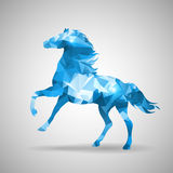 Triangle horse. Bluetriangle horse design with gray background Stock Photography