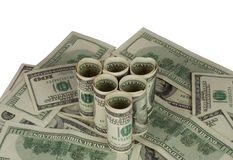 Triangle of hundred dollar bills Royalty Free Stock Image