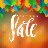 Triangle illustration Autumn Sale. Autumn Oak Leaves and Polygon Background. Calligraphy Poster Stock Photos