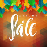 Triangle illustration Autumn Sale. Autumn Oak Leaves and Polygon Background. Calligraphy Poster Royalty Free Stock Image