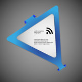 Triangle infographic template with blue color. Blue Illustration infographic with shape of triangle with rounded corners and with four folded overlapped parts royalty free illustration