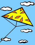 Triangle kite flying in sky vector illustration. Vector illustration of a modern triangle kite flying in the sky with clouds in the background Royalty Free Stock Image