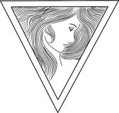 Triangle lady vector. Black and whote lady vector in a triangle Stock Photos