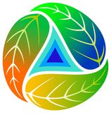 Triangle with leaves. Isolated illustrated image Stock Photo