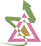 Triangle logo. Isolated line art triangle logo design Stock Image
