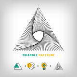 Triangle logo 3d abstract halftone. Triangle logo, 3d abstract design icon, halftone dots background Royalty Free Stock Photography