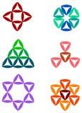 Triangle logo set. Isolated illustrated triangle logo set Stock Image