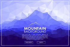 Triangle Low Poly Landscape With Blue Mountains Stock Photography