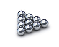 Triangle of metal spheres with clipping path Royalty Free Stock Photography