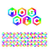 Triangle mosaic font set for icons, apps or logo design. Royalty Free Stock Image
