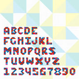Triangle mosaic font set for icons, apps or logo design. Stock Image