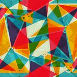 Triangle mosaic seamless pattern with grunge effect Stock Images