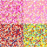 Triangle Mosaic Seamless Pattern Set Stock Image