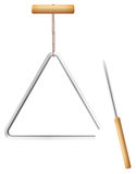 Triangle Music Instrument Metal. Triangle on a string and metal beater with wooden handle - musical instrument in the percussion family - isolated vector Stock Photography