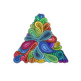Triangle onduleuse de hippie Triangle tirée par la main composée des vagues et des courbes sur le fond blanc Rétro hippie coloré illustration libre de droits