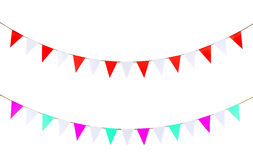 Triangle papers hanging on the rope. Royalty Free Stock Images
