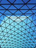 Triangle pattern on the glass roof structure Stock Photos