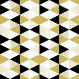 Triangle pattern with seamless black and gold colors. Trendy 90s memphis retro vintage style vector illustration. Ready for print royalty free illustration