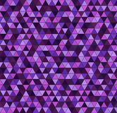 Triangle pattern. Seamless vector. Background - amethyst, lavender, plum, purple, violet triangles on black backdrop Royalty Free Stock Photos