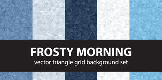 Triangle pattern set Frosty Morning. Vector seamless geometric backgrounds with blue, gray and white triangles Royalty Free Stock Photos