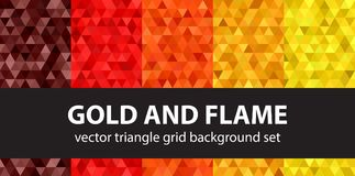 Triangle pattern set Gold and Flame. Vector seamless geometric b. Ackgrounds with maroon, red, orange, gold, yellow triangles Royalty Free Stock Photography