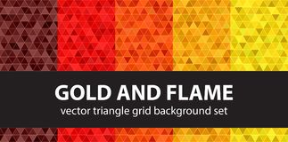 Triangle pattern set Gold and Flame. Vector seamless geometric b. Ackgrounds - maroon, red, orange, gold, yellow trianges on multicolor backdrops Stock Photography