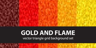 Triangle pattern set Gold and Flame Stock Photography