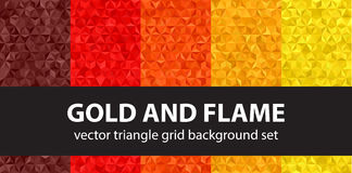 Triangle pattern set Gold and Flame Stock Images