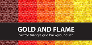 Triangle pattern set Gold and Flame Royalty Free Stock Images