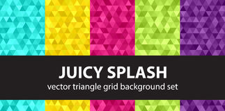 Triangle pattern set Juicy Splash. Vector seamless geometric backgrounds with cyan, yellow, rose, green, violet triangles Stock Image